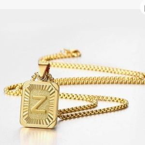 """22"""" Womans Gold Initial Letter Necklace"""